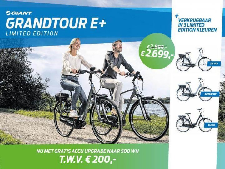Gratis Upgrade t.w.v. € 200,- bij de Giant Grandtour E+1 LTD Edition Op=Op!